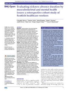 analysis of sickness absence using poisson Sickness absence is clearly multifactorial, but exposures at the workplace are certainly an important part of health and illness among adults and in support of this assumption, a meta-analysis (15) found that exposure to workplace bullying was related to subsequent absence with an or of 167 (95% ci.